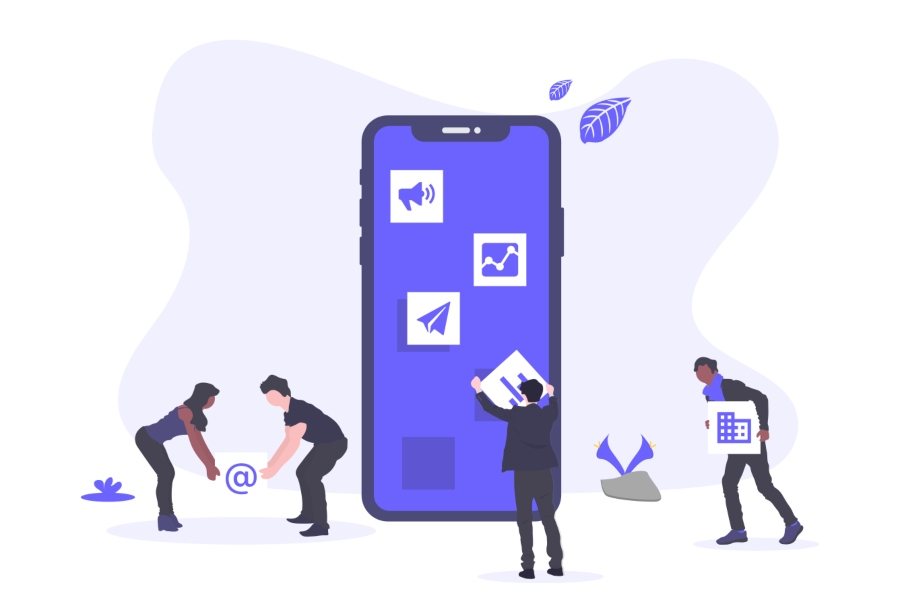 Illustration of people standing in front of large mobile screen picking up and placing various app icons